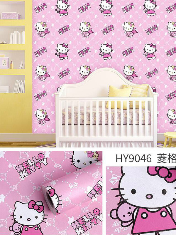 Hình ảnh Decal dán tường Hello Kitty hồng 9046