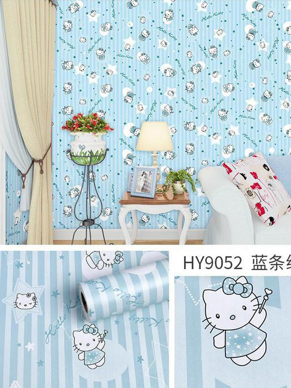 Hình ảnh Decal dán tường Hello Kitty xanh 9052