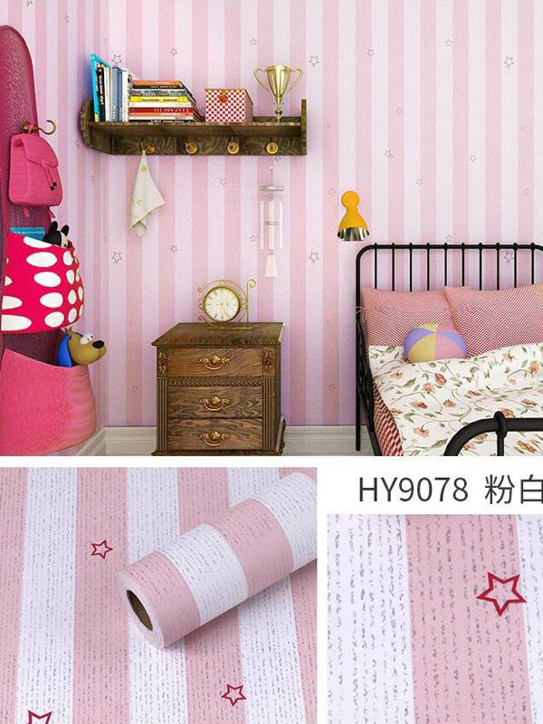 Hình ảnh Decal dán tường sọc hồng trắng 9078