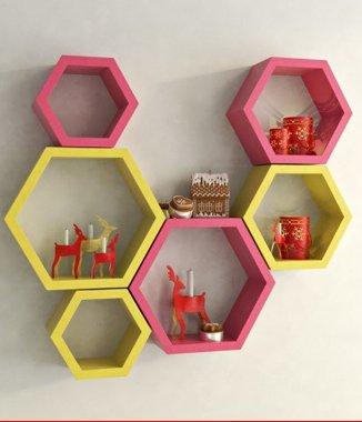 Hình ảnh Combo 2 bộ kệ lục giác vàng hồng