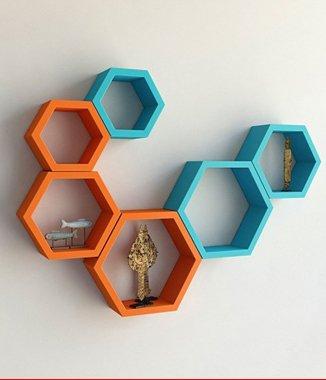 Hình ảnh 2 bộ kệ tổ ong xanh lơ cam
