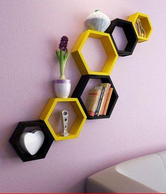 Hình ảnh Combo 2 bộ kệ lục giác vàng đen