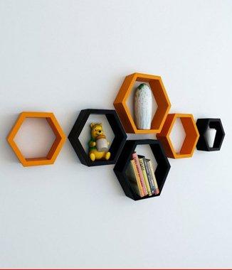 Hình ảnh Combo 2 bộ kệ lục giác đen cam