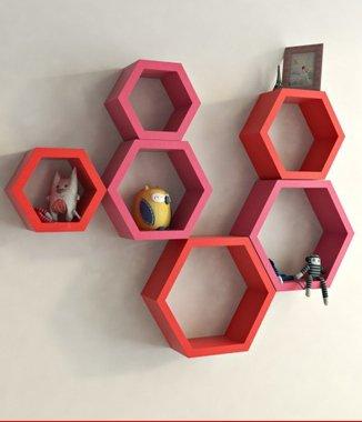 Hình ảnh Combo 2 bộ kệ lục giác hống phấn cam