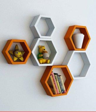 Hình ảnh Combo 2 bộ kệ lục giác trắng cam