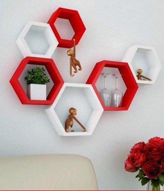Hình ảnh Combo 2 bộ kệ lục giác trắng đỏ