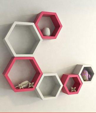 Hình ảnh 2 bộ kệ lục giác trắng hồng phấn