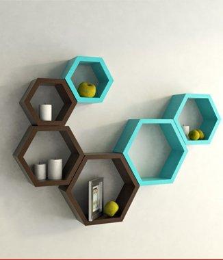 Hình ảnh 2 bộ lục giác tổ ong treo tường