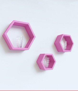 Hình ảnh Bộ kệ lục giác tổ ong hồng phấn
