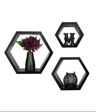 Hình ảnh Bộ kệ lục giác tổ ong màu đen