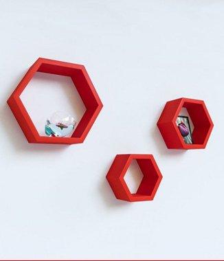 Hình ảnh Bộ kệ lục giác tổ ong màu đỏ