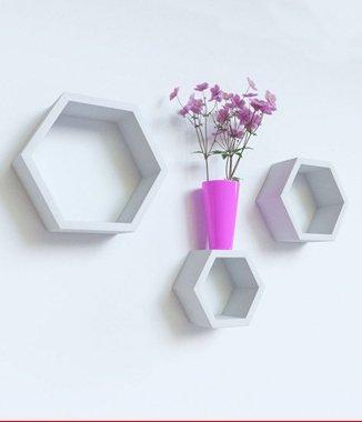 Hình ảnh Bộ kệ lục giác tổ ong màu trắng