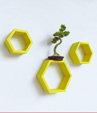 Hình ảnh Bộ kệ lục giác tổ ong vàng gold