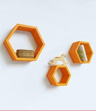 Hình ảnh Bộ kệ lục giác tổ ong vàng kem