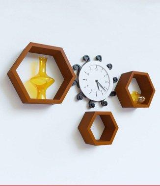 Hình ảnh Bộ kệ lục giác tổ ong màu xám