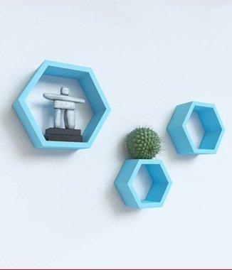 Hình ảnh Bộ kệ lục giác tổ ong xanh lơ