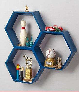 Hình ảnh Bộ kệ lục giác tổ ong màu xanh