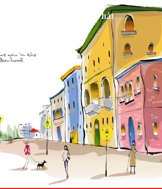 Hình ảnh Tranh dán tường thành phố m-043