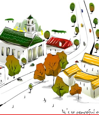 Hình ảnh Tranh dán tường thành phố m-045