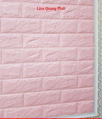 Hình ảnh Tấm xốp giả đá 3D màu hồng phấn