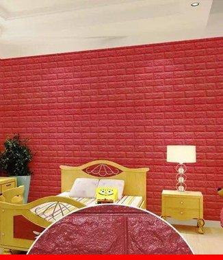 Hình ảnh Xốp đá dán tường 3D màu đỏ