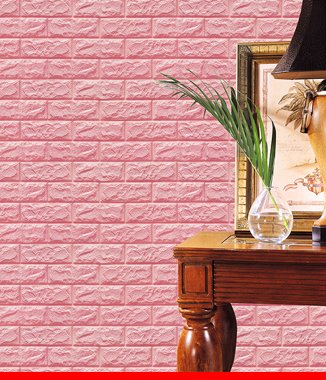 Hình ảnh Xốp đá dán tường 3D màu hồng