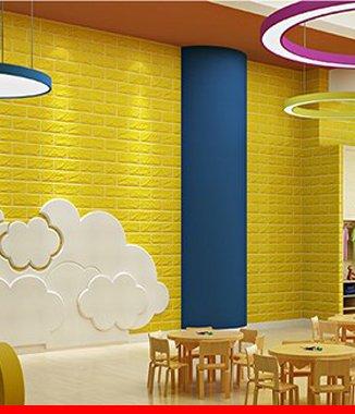 Hình ảnh Xốp đá dán tường 3D màu vàng