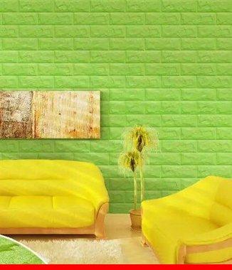 Hình ảnh Xốp đá dán tường 3D màu xanh lá