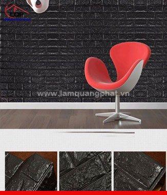 Hình ảnh Xốp đá dán tường 3D màu đen
