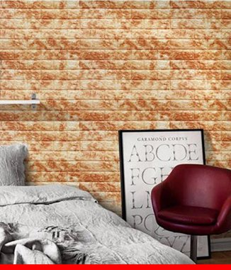 Hình ảnh Xốp đá dán tường 3D màu nâu vàng
